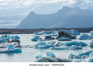 Beautiful cold landscape picture of icelandic glacier lagoon bay,