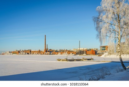 Beautiful cold winter day in the town of Vaasa, Finland. Beautiful scenery from the Finnish archipelago.