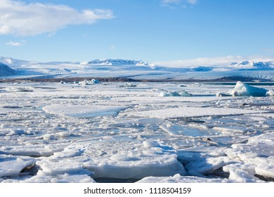 Beautiful cold winter landscape with icebergs in Jökulsárlón glacial lagoon, Vatnajökull National Park, southeast of Iceland, Europe.