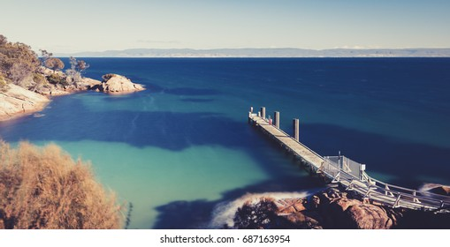 Beautiful of Coles Bay and the Freycinet Pier in Tasmania.