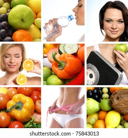 Beautiful collage about dieting, healthy eating and health care
