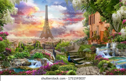 Beautiful collage with access to the Paris, the ancient houses of Italy, flowers and waterfalls. Digital collage , mural and fresco. Wallpaper. Poster design. Modular panno.