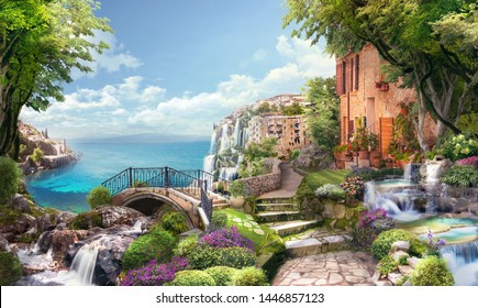 Beautiful collage with access to the sea, the ancient houses of Italy, flowers and waterfalls. Digital fresco. Wallpaper.