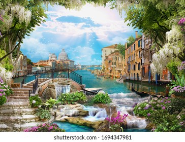 Beautiful collage with access to the sea, the ancient houses of Venice, flowers and waterfalls. Digital collage , mural and fresco. Wallpaper. Poster design. Modular panno. 3d render