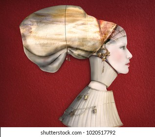Beautiful collage and artistic portrait  of a female model profile in costume on red background