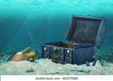 beautiful collage of closed old wooden treasure chest submerged underwater world with anchor, amphora and light rays, close up