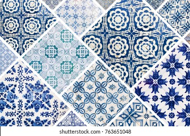 Beautiful collage of different traditional portuguese tiles called azulejos