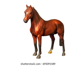 A beautiful collectible figure of a standing horse. Isolated on white.