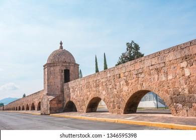 Beautiful colonial Aqueduct of Morelia in Michoacan, Mexico