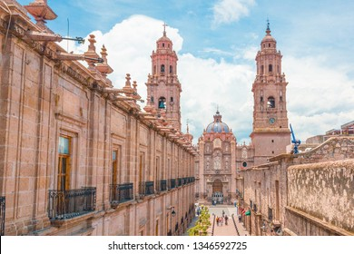 Beautiful Colonial Cathedral of Morelia in Michoacan, Mexico