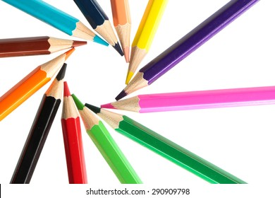 Beautiful color pencils are isolated on white background.
