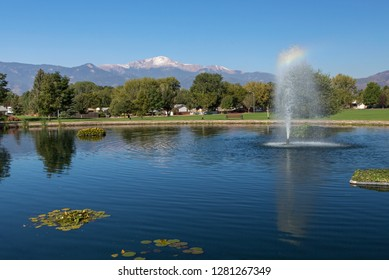 Beautiful Colorado Springs Park with Pikes Peak in the Background