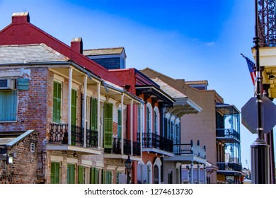 Beautiful Colored Brick and Stucco Homes Line One of the Many Streets in the French Quarter of New Orleans, Louisiana, USA