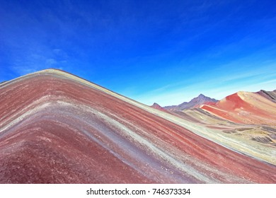 The beautiful colored Rainbow Mountain near Cusco Peru. From close, to see the structure and the colorlines. Located about 20km south of Ausangate mountain.