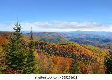 Beautiful colorful autumn mountain range landscape.Copy space. Close to Asheville, Blue Ridge Parkway, North Carolina, USA.