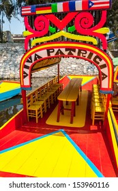 Beautiful colorful boat in the Xochimilco Canal in Mexico City