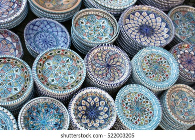 Beautiful and colorful ceramic plates Caltagirone, Sicily, Italy
