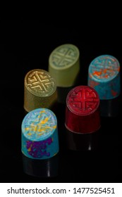 Beautiful and colorful chocolate bonbons set