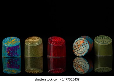 Beautiful and colorful chocolate candies set on black