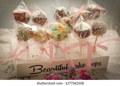 Beautiful colorful chokolate cake pops