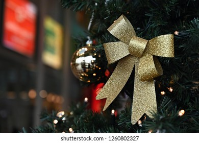 Beautiful colorful Christmas decorations. Christmas tree - concept for winter time and holiday season.