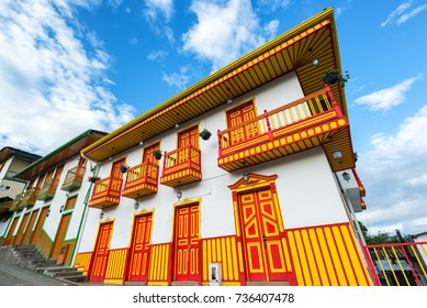 Beautiful and colorful colonial building in Salento, Colombia