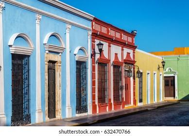 Beautiful colorful colonial buildings in the historic center of Campeche, Mexico