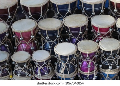 beautiful colorful Damru (Drum) display at street shop in Chitrakoot.