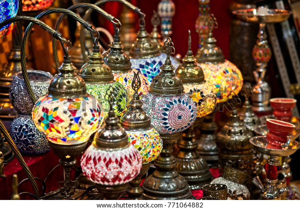 Beautiful and colorful decorative lamp shade being sold at the Muttrah Suq, Muscat, Oman.