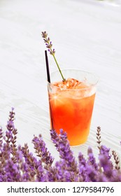 A beautiful colorful delicious drink with lavender flavor served at a lavender festival in Sequim, Washington State