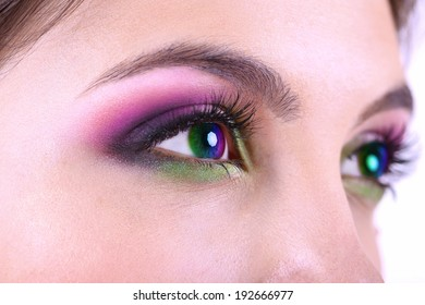 Beautiful colorful eyes close up
