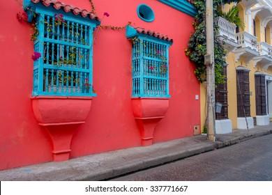 Beautiful colorful facades of colonial houses in Cartagena de Indias, Colombia