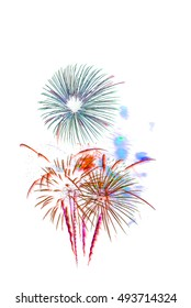 Beautiful colorful firework display, celebration happy new year and merry christmas on white isolated background