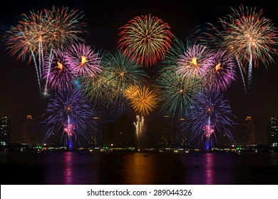 Beautiful colorful fireworks display on celebration night