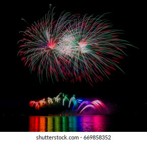Beautiful colorful fireworks in the sky
