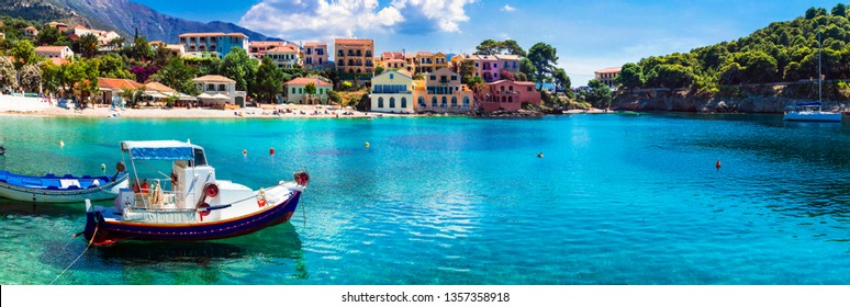 Beautiful colorful Greece series - coastal village Assos in Kefalonia. Ionian islands
