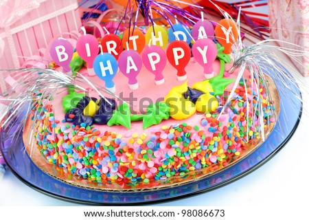 Beautiful Colorful Happy Birthday Cake Surrounded Stock Photo Edit