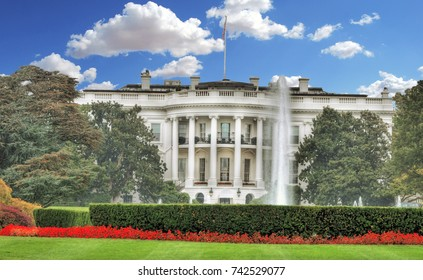 Beautiful colorful HDR and retro style image of theSouth Lawn at the White House in Washington, DCin Washington, DC on blue cloudy sky
