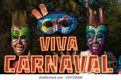Beautiful and colorful hording at the entrance, decorated with tribal masquerade masks, for the annual festival of Goa, known as Viva Carnaval or Goa Carnaval.