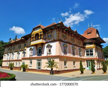 Beautiful colorful house in Luhačovice, picturesque spa town in South Moravia, Czech Republic on sunny day. Luhacovice is famous for Art Nouveau architecture by Slovakian architect Dušan Jurkovič. - Shutterstock ID 1772000570