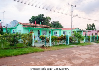 Beautiful colorful houses and casas particular to the streets of Vinjales in Cuba. Beautiful old house in the colonial town.
