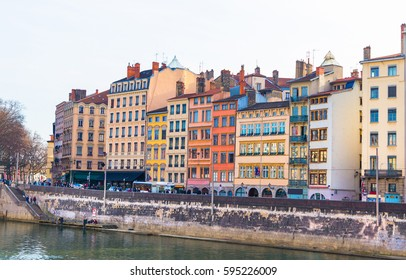 Beautiful colorful houses on the banks of the Saone river in Lyon, France