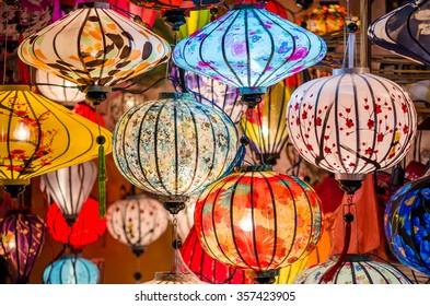 Beautiful colorful lanterns in Vietnam