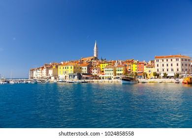 Beautiful colorful medieval town of Rovinj Istria, Istrian peninsula, Croatia, Europe