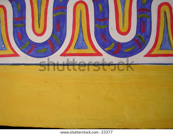 A beautiful colorful Mexican design painted on a wall. Photographed in Lake Chapala, Mexico