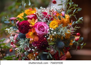 Beautiful colorful mixed flower bouquet still life