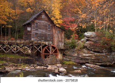Beautiful colorful October autumn colors surround the Glade Creek Grist mill in West Virginia