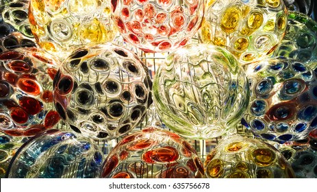 Beautiful colorful painting on glass ball
