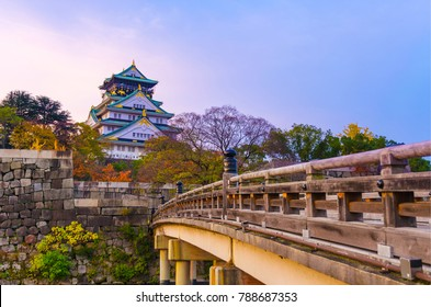 beautiful colorful pastel sunrise of Osaka Castle with autumn leaves, landmark of Osaka, Kansai, Japan