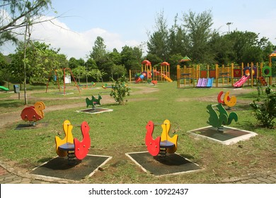 Beautiful and colorful playground on a quiet sunny day